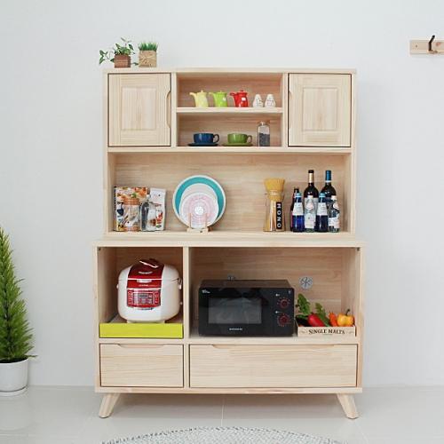 (무도장)24t 소나무 주방렌지대수납장+그릇장세트