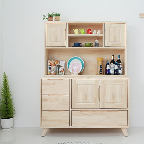 (무도장)24t 소나무 서랍형주방수납장+그릇장세트