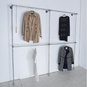[브리스페이스]HW04 벽면 2단 옷걸이 더블 파이프행거 1200