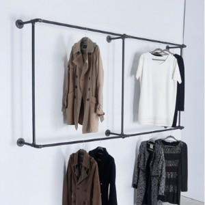 [브리스페이스]HW02 벽면 사각 옷걸이 더블 파이프행거 1000