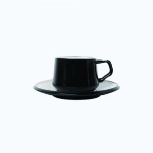 [덴스크] 커피 티잔&소서 블랙