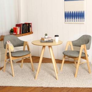 스칸디안 인테리어 카페 티테이블 세트-그레이 (의자 2개 포함)