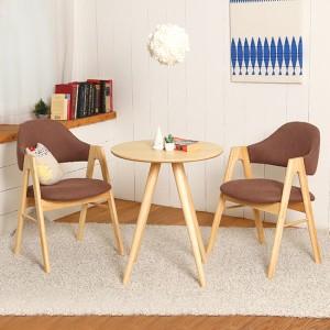스칸디안 인테리어 카페 티테이블 세트-브라운 (의자 2개 포함)