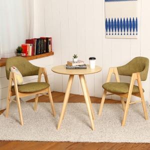 스칸디안 인테리어 카페 티테이블 세트-올리브 (의자 2개 포함)