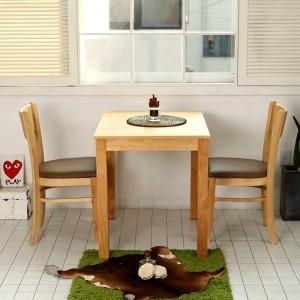 모쿠 2인용 원목 식탁세트(의자2개, 강화유리 포함)