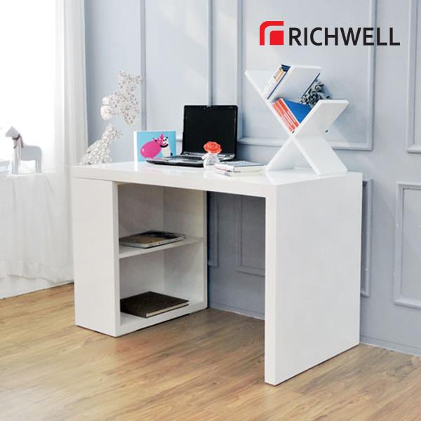 하이그로시 화이트 수납 책상 세트 1200 (의자별도)