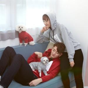 [DASOM] 레터링 후드 탑 커플룩 강아지옷