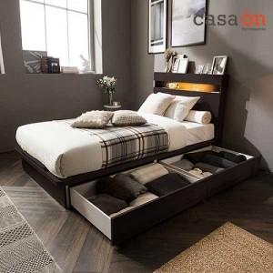 까사미아 까사온 듀이 LED 수납 침대(CA1602 7존 독립스프링 매트리스-슈퍼싱글)