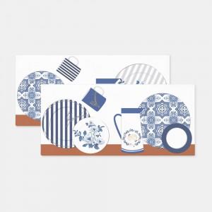 디자인 스키니 플레이팅 블루 코팅매트 식탁매트 테이블매트