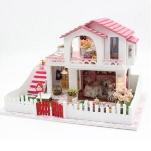 [adico] DIY 미니어처 풀하우스 - 핑크 2층 하우스