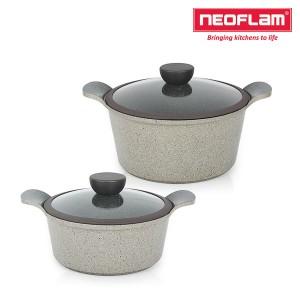 네오플램 세라믹 마블 냄비 양수20cm+양수24cm