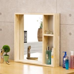 포리드 소나무 원목 사각거울 수납형