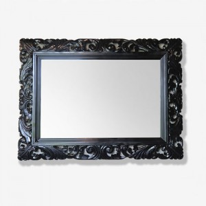 FASCINATION BLACK 원목조각 사각 대형거울
