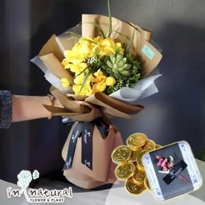[초콜릿비누꽃세트] 글로제+골드코인 틴케이스