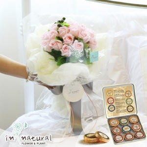 [초콜릿플라워세트] 투웬티 로즈_핑크(비누꽃)+드라이마이스터9P