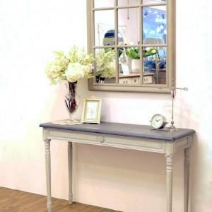 [꼬떼따블] 로망스 블루그레이 직사각 콘솔 테이블 아치형 창문 거울 세트