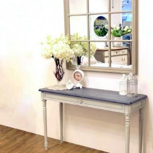 [꼬떼따블] 로망스 블루그레이 직사각 콘솔 테이블 사각 창문 거울 세트