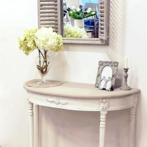 [꼬떼따블] 엠마 토프, 스톤그레이 라운드 콘솔 테이블 하우스 그레이 둥근 오픈 창문 거울 세트