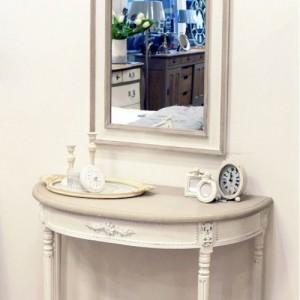[꼬떼따블] 엠마 토프, 스톤그레이 라운드 콘솔 테이블 2648 마스틱 거울 세트