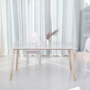 아르마블 천연 대리석 로빈 식탁 테이블 아이보리철재분체도장