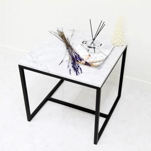 아르마블 정사각 대리석 사이드테이블 (비앙코코카라라)