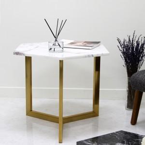 아르마블 육각 대리석 테이블 (대리석-라일락 /스테인레스발색)