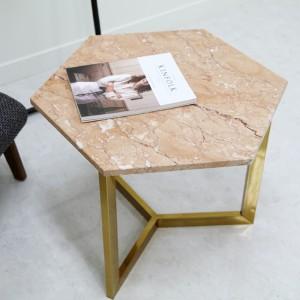 아르마블 육각 대리석 테이블 (대리석-핑크로즈 / 스테인레스발색)