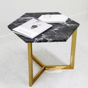 아르마블 육각 대리석 테이블 (대리석-그라지오 까르니꼬 / 스테인레스발색)