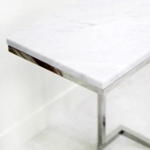 아르마블 대리석 사이드테이블 (실버) (비앙코 카라라 / 발색골드 / 상판변경가능)