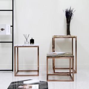 아르마블 사각 대리석 테이블(3가지 사이즈) - 스테인레스 유광로즈골드