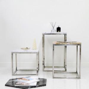 아르마블 사각 대리석 테이블(3가지 사이즈) - 유광실버