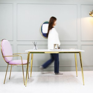 샤론 천연 대리석 골드 식탁 테이블(하부 유광골드)