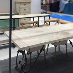 [꼬떼따블] 스틸 우드 소나무 철제 다이닝 테이블 180