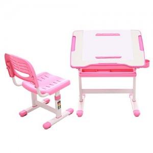 [위드그로우]꼬모 높낮이 책상의자세트 핑크