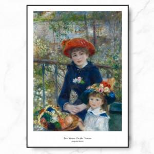 르누아르 인테리어 그림 액자 포스터 테라스의 두 자매