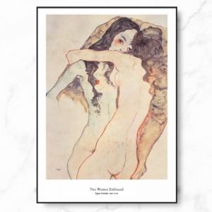 에곤 쉴레 인테리어 그림 액자 포스터 두 여인