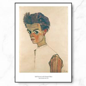 에곤 쉴레 인테리어 그림 액자 포스터 자화상