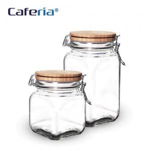 Caferia 나무/유리 밀폐용기 700ml+1200ml(CA4-CA5) [커피통/보관용기/커피용품]