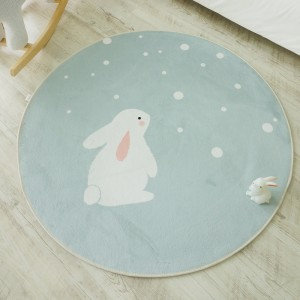 민트땡땡이 토끼 원형 러그