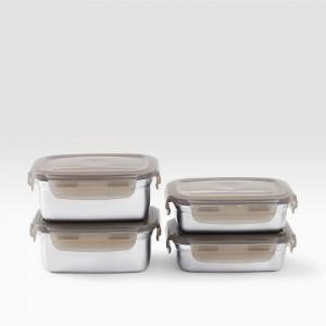[홈앤하우스] 네오 스텐 밀폐용기 직사각 4종세트
