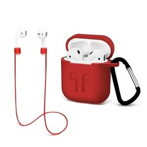 에어팟 보호 케이스 3인1 스트랩과 실리콘 커버 키 체인 스트랩 애플 에어 포트 액세서리 - 레드 바이 짐