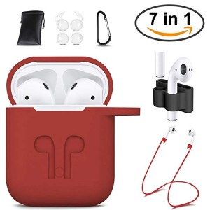 AirPods Case Cover,GIM 7 In 1 AirPods Accessories Silicone Airpods Protective Cover Set with Clip Holder