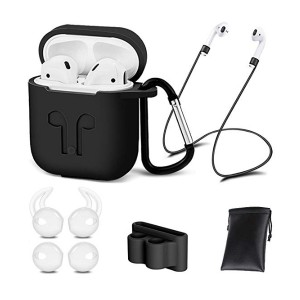 AirPods Case Cover,7 in 1 AirPods Accessories Silicone Airpods Protective Cover Set with Clip Holder