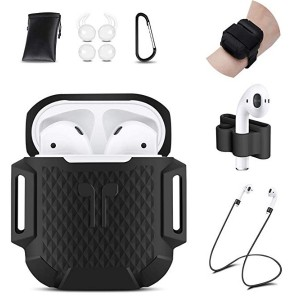 AirPods Case, 8 in 1 AirPods Accessories Silicone Airpods Protective Cover Set with Clip Holder