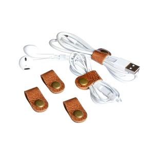 CAILLU cord headphone organizer Leather cable ties,earphone headset wrap winder handmade