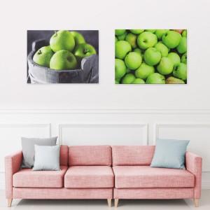 인테리어 그린애플 그림액자 2개 세트 - 이슬맺힌 풋사과/풋사과 바구니 30×40