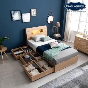 [잉글랜더]플로이 LED 시크릿 수납 침대(삼중직 9존 케미컬폼 65T 필로우탑 독립매트-SS)