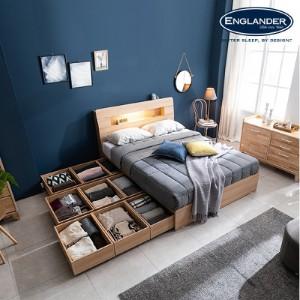[잉글랜더]플로이 LED 시크릿 수납 침대(삼중직 9존 케미컬폼 65T 필로우탑 독립매트-Q)