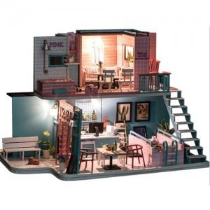 [adico] DIY 미니이처 풀하우스 - 핑크 카페