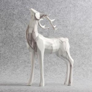 빈티지 화이트 사슴 조각상 1개